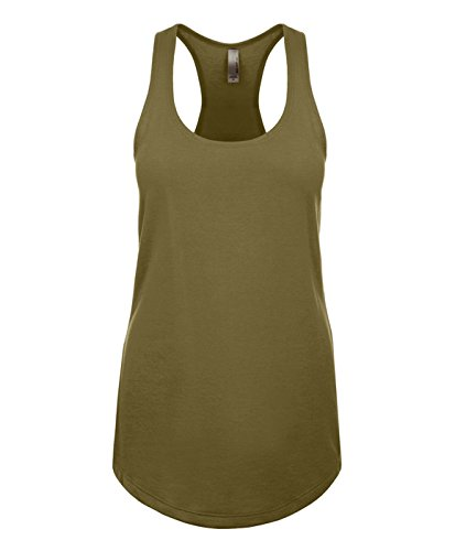 Tank Army Girl (Next Level 1533 Ideal Racerback Tank Military Green Large)