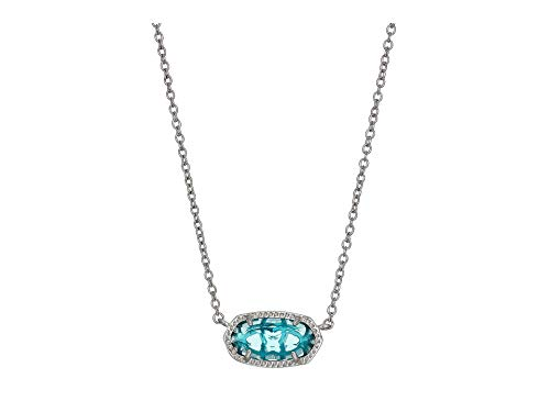 Blue Glass Necklace - Kendra Scott Elisa Pendant Necklace in London Blue Glass and Rhodium Plated