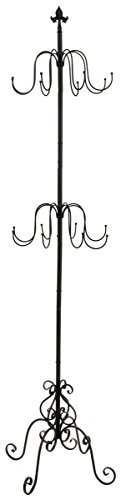 (Displays2go 2-Tier Wrought Iron Coat Rack, Black, 73 by 21 by 16-Inch)