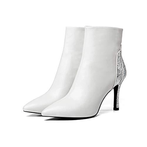 Des Talons En Nouveaux Noir Modèles Avec Plus Hauts Et Unique Souligné Femmes 2018 Chaussures Pour White À Velvet Coton D'hiver Stiletto Bottes Cuir A Sexy D'automne Paillettes C1wZdqp