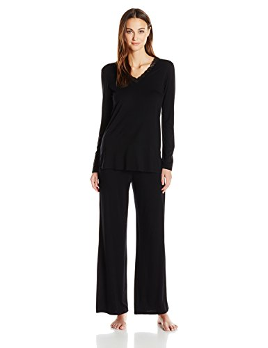 Natori Women's Feathers Essential Long Sleeve Pj, Black, Small by Natori