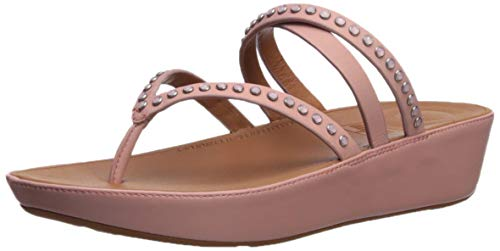 FitFlop Women's LINNY Criss Cross Toe-Thong Sandals-Crystal, Dusky Pink, 10 M US ()