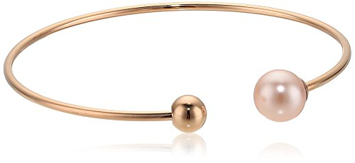 Majorica Womens 8mm Round Pearl On A Titanium Rose Gold Plated Bangle