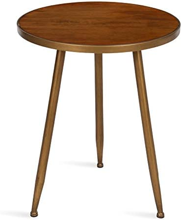 Kate and Laurel Clegg Midcentury Modern 3-Legged Round Wood and Metal Side Table, Walnut Brown Finished Top with Burnished Gold Trim and Legs