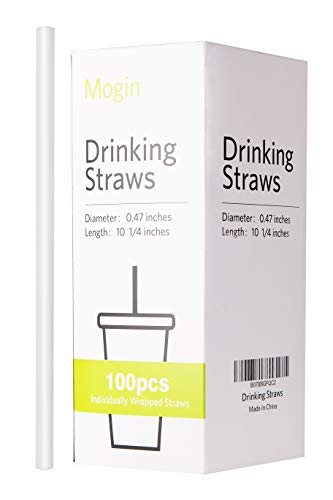 Plastic Jumbo Smoothie Straws Individually Wrapped, 100 Pack, Extra Wide 0.47