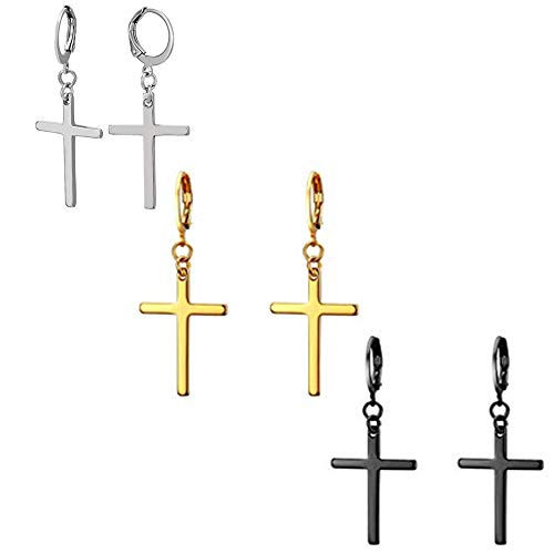 - Fashionsupermarket 3 Pairs Stainless Steel Piercing Hinged Huggie Hoop Cross Pendant Drop Dangle Earrings,Silver,Gold,Black,Hypoallergenic