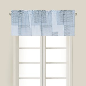 C&F Home Asher Stripe Blue Floral Botanical Spring Easter Summer Cotton Bedroom Guestroom Premium Window Valance Set of 2 Valance Set of 2 Blue