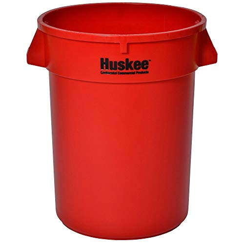 Continental 3200RD 32-Gallon Huskee LLDPE Waste Receptacle, Round, Red