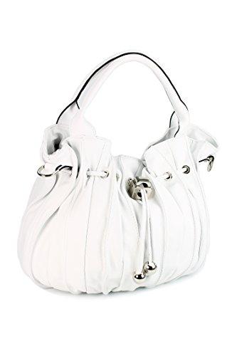 """Belli® """"Globe Bag"""" ital. Nappaleder Shopper Handtasche Beuteltasche weiß - 30x21x24 (B x H x T)"""
