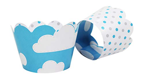 Clouds Cupcake Wrappers with Polka Dots for Baby Boy Showers, Weddings, Kids or 1st Birthday Party. Set of 24 Reversible, Adjustable Cup Cake Holder Wraps. White, Blue, Grey