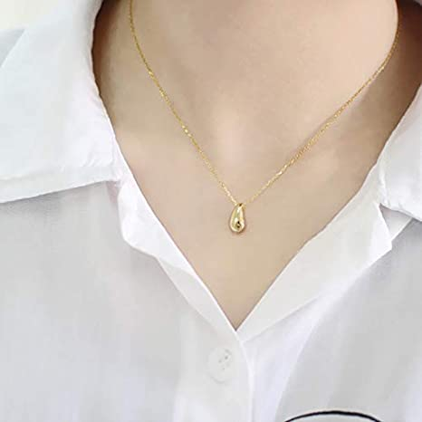 Davitu Real 925 Sterling Silver Waterdrop Necklaces Pendants Collier Femme Simple Women Necklaces Gift colares neclace 2018 Jewellery Metal Color: Platinum Plated