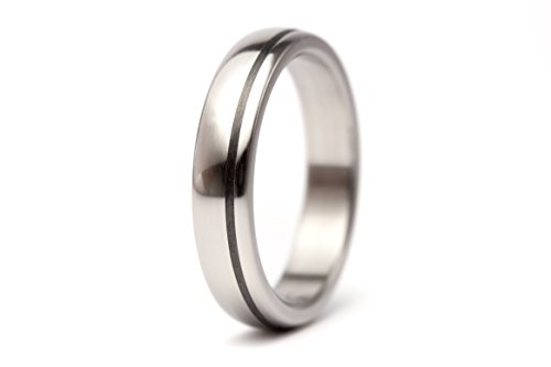 Women's titanium and carbon fiber ring. Unique wedding band. Water resistant and hypoallergenic. (00334_4N)