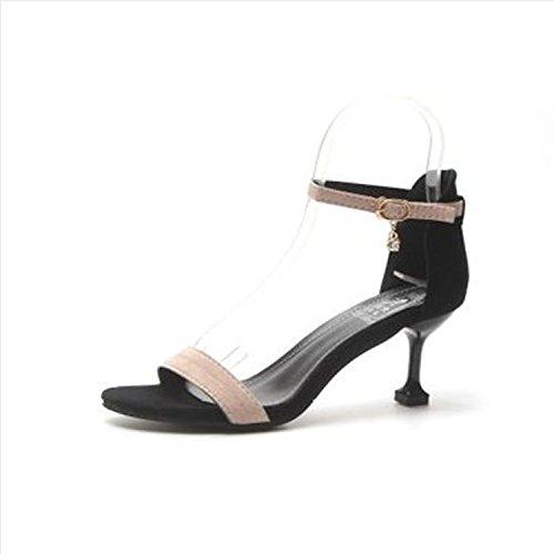 Xue Qiqi Tau-Toe Sandalen geschlitzten Tie wild fein mit High Heels Damenschuhe Tide