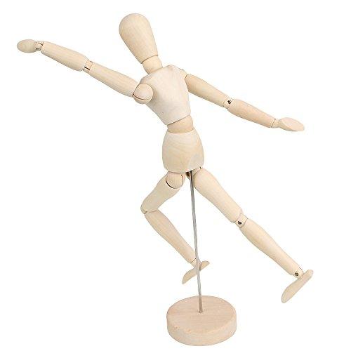 Mxfans Artists Wooden Unisex Manikin Blockhead Jointed Mannequin Puppet 12 Inch