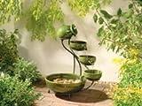 Sunnydaze Green Ceramic Cascade Solar Fountain, 21 Inch Tall