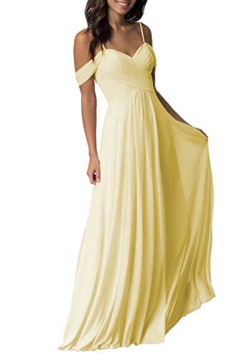 Miao Duo A-line Bridesmaid Dresses Yellow Elegant Long Chiffon Prom Party Gowns