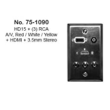Philmore Stainless Steel Wall Plate with HDMI, 3.5MM Stereo, VGA & 3 RCA (Stereo/Video, 75-1090