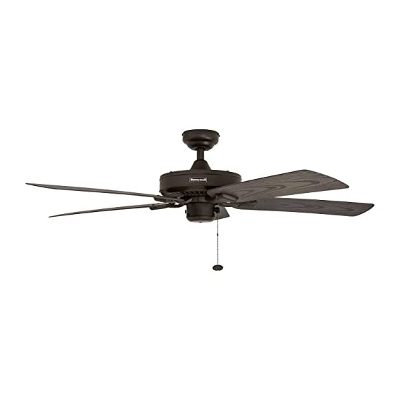 """Honeywell Belmar 52"""" Outdoor Ceiling Fan 4 QUALITY DESIGN: Features a bronze finish and 5 ETL damp rated fan blades. Perfect for outdoor patios, workshops, breezeways, gazebos, pergolas and other outdoor spaces. EASY CONTROLS: Traditional pull chains included for easy """"on and off"""" adjustments but this fan is also compatible with Honeywell ceiling fan remotes. QUIET REVERSIBLE MOTOR: Conveniently quiet, 3 speed, reversible motor that can be run in reverse in the winter to aid in rotating the warm air in the room."""