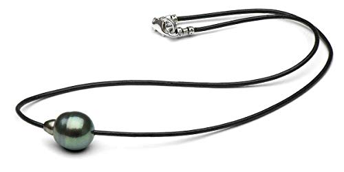 - Tahitian Pearl on Colored Cord Unisex Necklace. Custom Made. Fits Your Taste and Budget. Chinese Freshwater also available. Cords in leather, suede, satin. Colors Black Brown Blue Pink Green Red Etc.