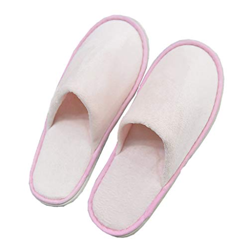 QTT Disposable Slippers, Adult Pink Home Hotel Non-Slip Bottom Slippers (50 Pairs)