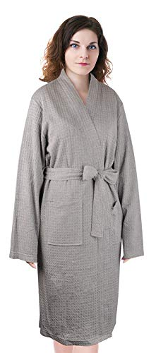 - Women's Waffle Bathrobe,Lightweight Spa Sleep Robe Cotton Kimono Knee Length Dressing Gown Grey