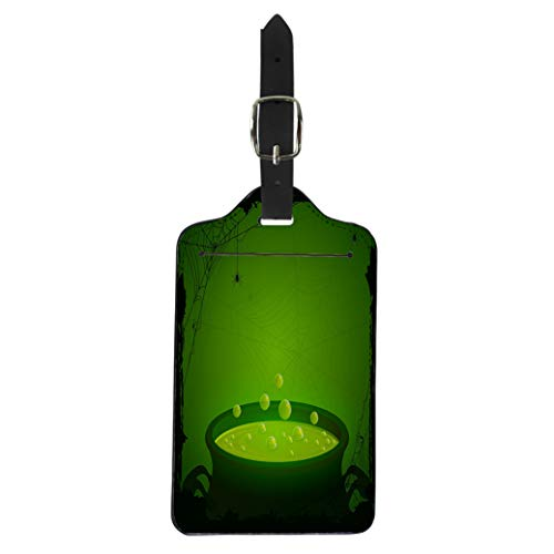 Pinbeam Luggage Tag Witch Halloween Witches Cauldron Green Potion and Spiders Suitcase Baggage Label
