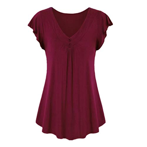 Wobuoke Fashion Women's Vintage Button Short Sleeve V Neck Pleated Tunic Shirt Wine