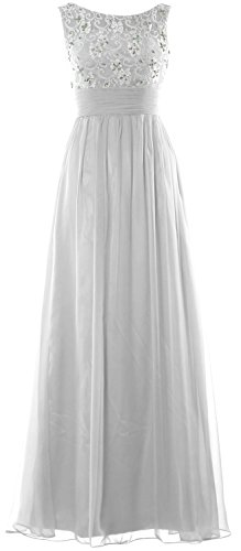 MACloth Women Lace Chiffon Long Prom Dress Wedding Party Formal Evening Gown Blanco