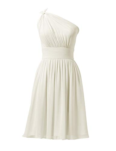 Alicepub Chiffon Bridesmaid Dresses Short Prom Party Dress Evening Gown, Ivory, US0
