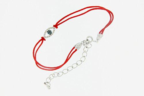 Victoria Kay 1/6ct TDW Blue, Black, White Diamond Evil Eye Red String Bracelet in Sterling Silver (J-K, I2-I3)