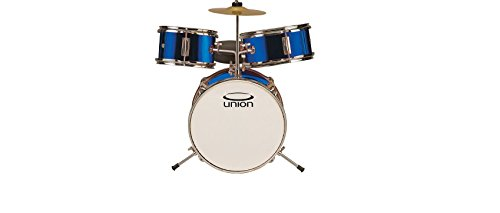 Union DBJ3067(DB) 3-Piece Toy Drum Set with Cymbal and Throne - Metallic Dark Blue