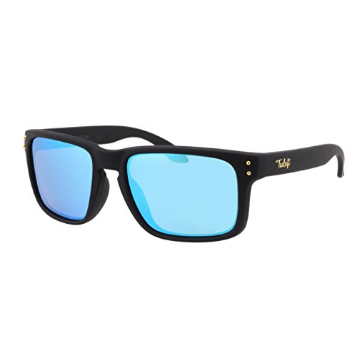 Tacloft Classic Polarized Sunglasses 60mm UV400 Shade Wayfarer tl5005(Black Frame/Blue Lens)