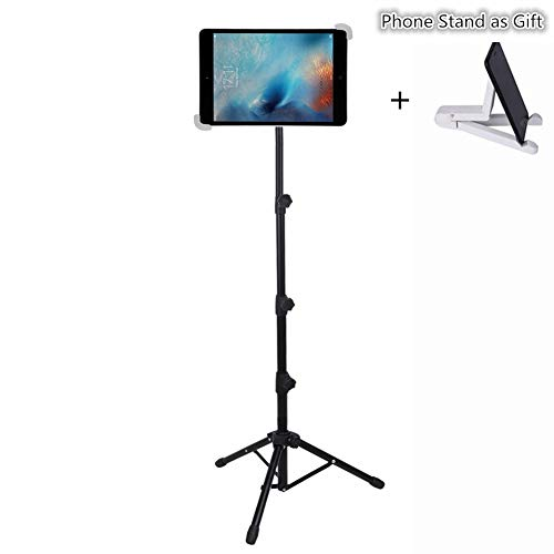 iPad Tripod Stand, LetsRun Height Adjustable Foldable Floor Tablet Tripod Stand for iPad Mini, iPad Air, iPad 1,2,3,4 and All 8-12 Inch Tablets, Carrying Case and Phone Stand as Gifts -