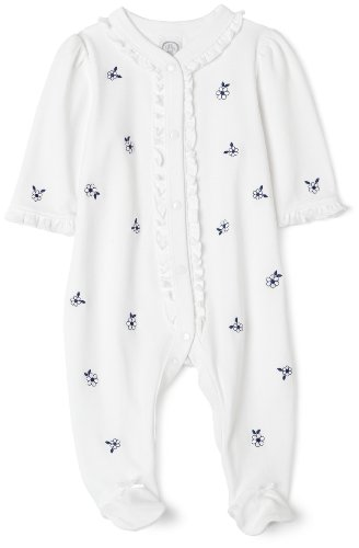 (Little Me Tossed Daisy Footie, White, 9 Months)