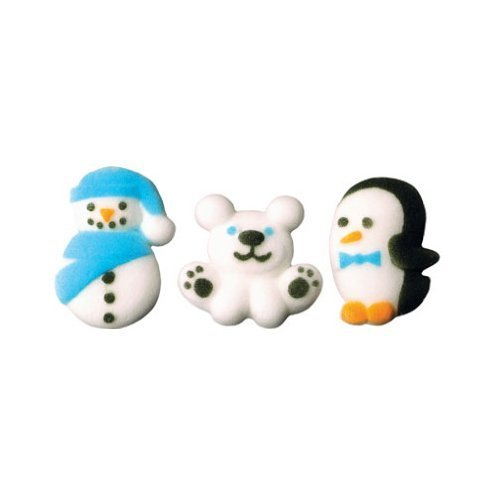 Winter Buddies Snowman, Polar Bear, Penguin Edible Sugar Decorations - 12 Count ()