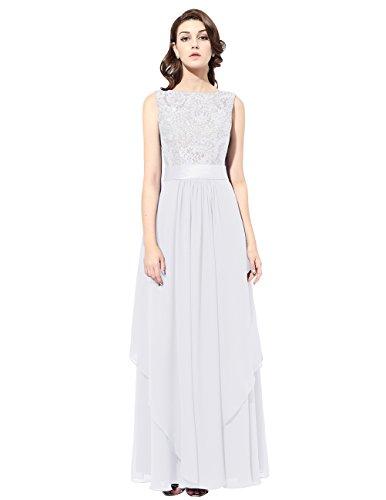 Dresstells®Mujer Vestido De Fiesta Ceremonia Danza Largo Gasa Con Aplicaciones Sin Mangas Blanco
