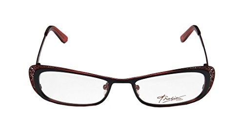 Thalia Canela WomensLadies Prescription Ready Classy Designer Full-rim Spring Hinges EyeglassesEyeglass Frame (52-17-133 Black  Red)