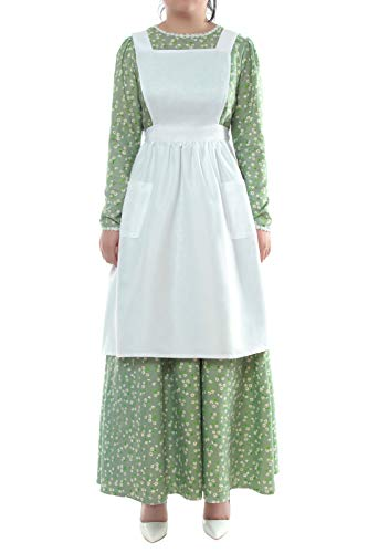 ROLECOS Pioneer Costume Dress Womens American Historical Clothing Modest Prairie Colonial Dress Green -