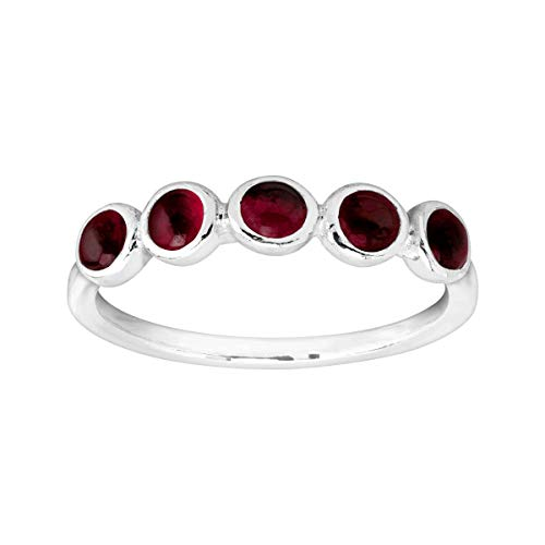 Silpada 'January' Celebration Collection Five-Stone Natural Garnet Ring in Sterling Silver ()
