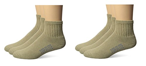Top Flite Mens Sport Full Cushion Quarter Socks 6 Pair Pack (L- USA Shoe 9-13, Khaki)
