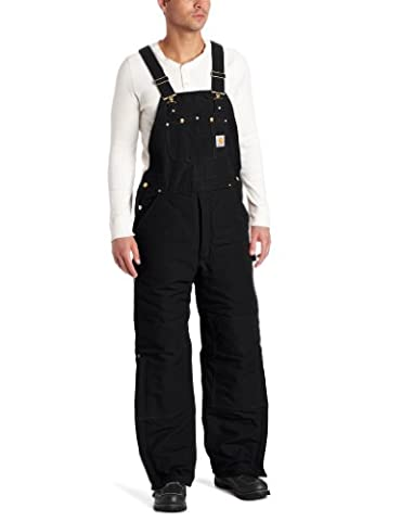 Carhartt Men's Big & Tall Quilt Lined Duck Bib Overalls,Black,52 x 30