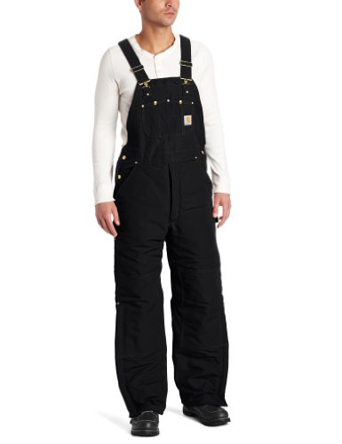 Carhartt Men's Quilt Lined Duck Bib Overalls R02,Black,44 x 34