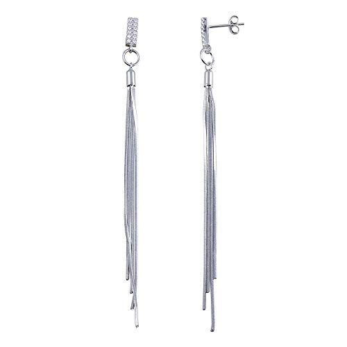 CloseoutWarehouse Clear Cubic Zirconia Bar Snake SQ Hanging Earrings Sterling Silver ()