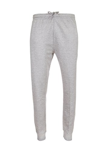 Suit Fleece Athletic (Spalding Mens Basic Fleece Athletic Workout Jogger Pants with Ribbed Cuffs Heather Grey Large)