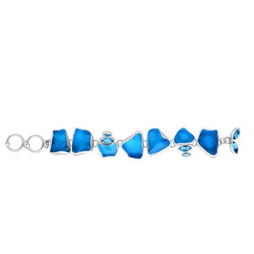 - Sterling Silver Ocean Side Sea Glass and Blue Topaz Bracelet 7