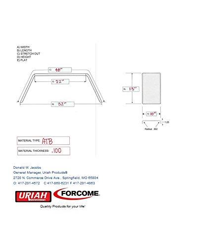 INFINITE INNOVATIONS 211065 Replacement Single Axle Aluminum Tread Plate Trailer Fender