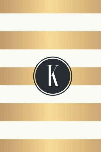 K: White and Gold Stripes / Black Monogram Initial