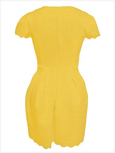 Line Minivestido A Vestido Manga en Cremallera amarillo Dress en Corta Línea Plisado Plisado Festoneado Corte Moda de Skater Zipper Laterales Cuello V Bajo Z1Pqwq