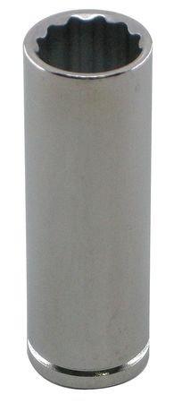 Westward 10E871 Socket, Deep, 1/4 In Dr, 12 Pts, 5/8 In