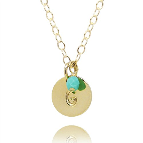 Efy Tal Jewelry Initial Necklace, Tiny Gold Filled Personalized Custom Dainty Disc with Birth Month Charm
